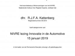 Deelnamebewijs R.J.F. Kattenberg NIVRE